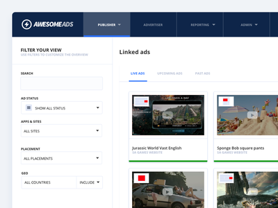 AwesomeAds Publishers Ad Queue advertisement publishers ux ui dashboard