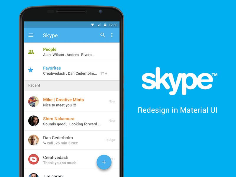 Skype - Material UI Concept (PSD) material ui skype flat mobile smartphone