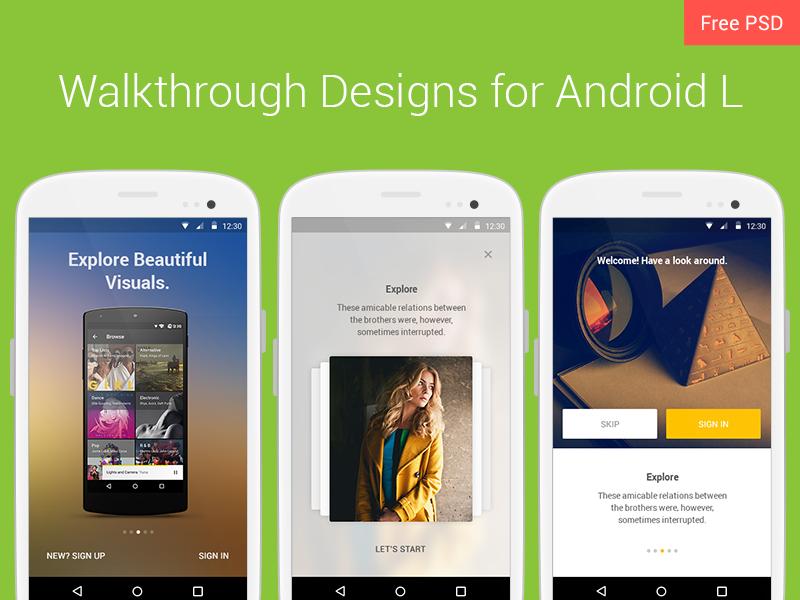 Walkthrough Design ux ui material design android lollipop walkthrough free psd