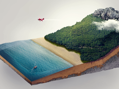 Island rocks sea plane drawing skills training skill island matte painting