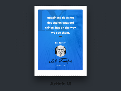 "Blockqoute ""Leo Tolstoy"" - Article UI ui-set ui typography text blog excerption article-ui citation quotation quote blockquote"