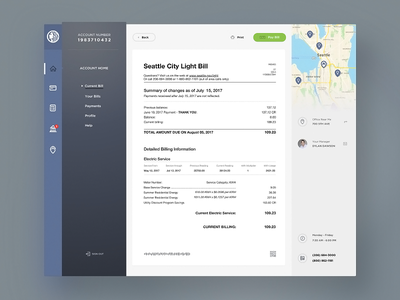 Seattle City Light Dashboard interface light ux ui dailyui sketchapp webdesign design seattle dashboard