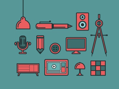 Design objects design objects pen tablet brush computer mic line minimal flat illustration icons