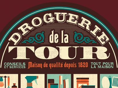 Hardware store typography sign ornament objects texture flat shop store french retro font type