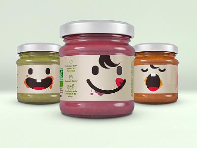 Granny's jars packaging meal smiley cute babyfood illustration flat minimal vector organic jars