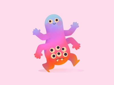 Two headed monster pink 2 headed sad happy monster illustration character design character