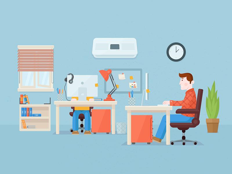 Flat Office illustration flat office