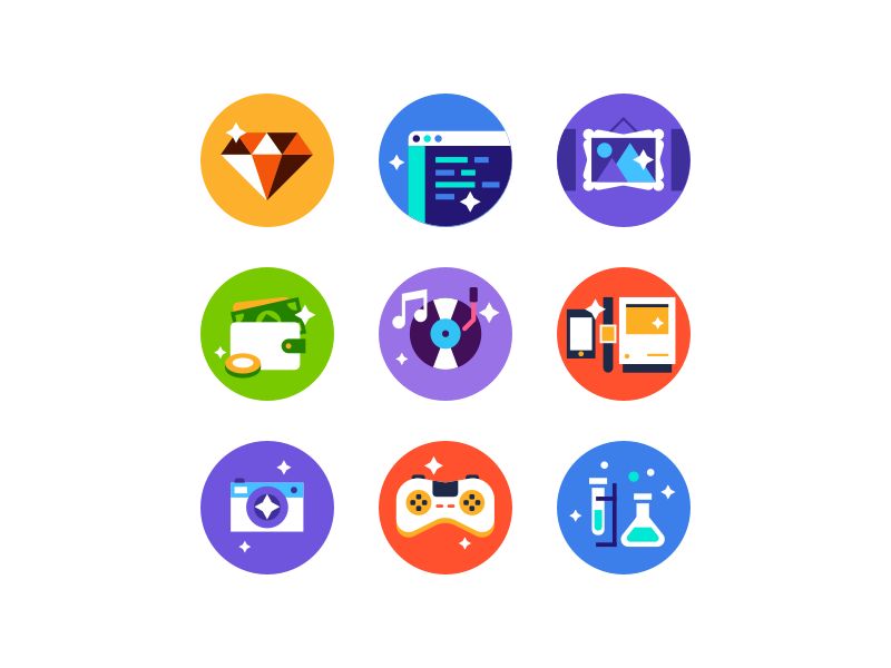 Panda Category Icons music finanace development design sketch explore discover flat icon category panda