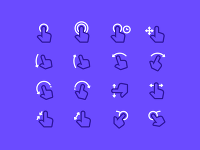 Hand gestures flow chart ux ui icon set icon gestures touch hand