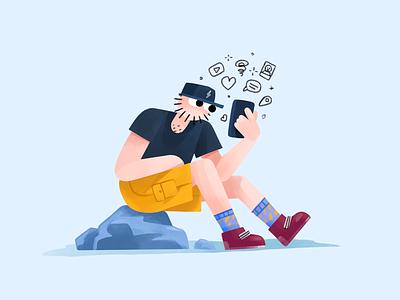 Phone Addiction illustration drawing ipad procreate