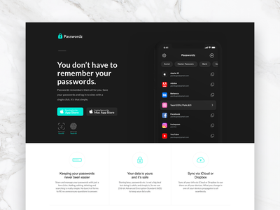 Password Manager website landing page website face id ios ux ui app manager password