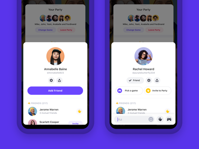 Profile page friend popup modal product design profile mobile app chat video bunch