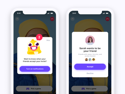 Bunch - Popups product design notification friend popup mobile app chat video bunch