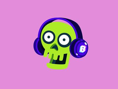 Skull headset animation illustration video chat app