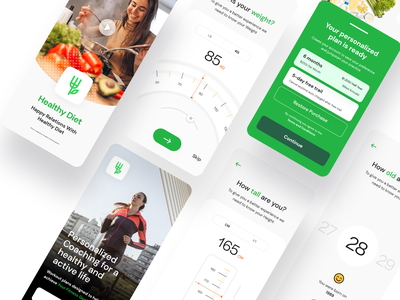 Diet App UI hyderabad ui8net ui8 debut diet app kochi weight loss needle age weights height weight ui illustration icons food fitness diet diary calicut