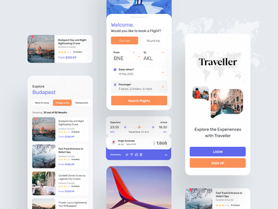 Travelling App branding 2021 typography ui trip travel screen qatar mobile illustration icons doha design debut clean budapest banglore app adventure 2020
