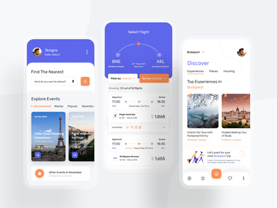 Travelling App daily ui ui typography trip travel screen qatar mobile illustration icons doha design debut clean budapest banglore app adventure 2020