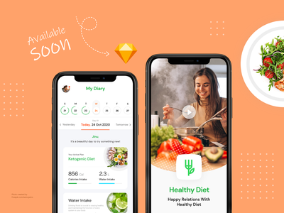 Healthy Diet UI Kit fitness app diet app trivandrum kerala ux recipe mobile ui kit ui design ios illustration gym fitness eat diet design system debut creative cooking