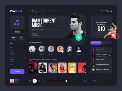 Dark theme dark theme dark mode dark ui banglore ux stream player music player music app mobile interface india figma design system debut dashboard daily ui bigsur behance app