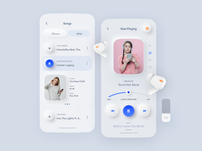 Music Player App Neumorphic Concept minimalist skeuomorph skeumorphism ui bigsur design system debut white ux shadow neumorphism neumorphic music player music mobile minimal light gradient colors app