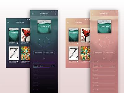 Audiobook app gradients laboration ui ux berghs application book player audio audiobook app