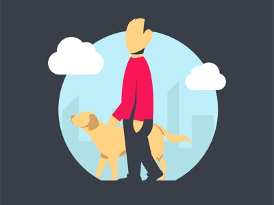 Walking the Dog Illustration design minimal graphic design illustrator illustraion flat flat illustration
