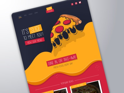 Slice Pizzeria - Website UI website design website flat minimal vector illustration graphicdesign uidesign design ui