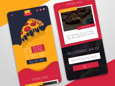 Slice Pizzeria Website - Mobile UI pizza mobile ui website uidesign vector illustration design ui