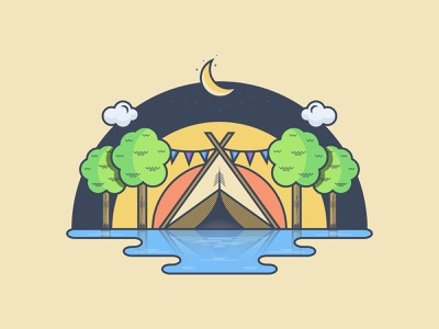 Initial illustration for a camping logo branding design logo graphic design illustration flat vector minimal