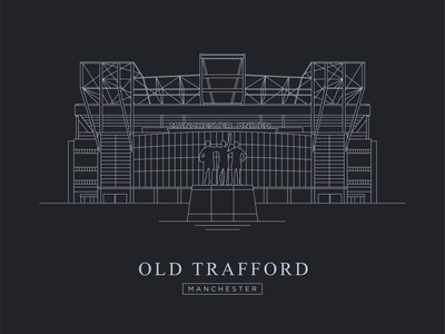 Old Trafford - Manchester - Illustration web icon typography graphic design illustration vector graphicdesign flat minimal design