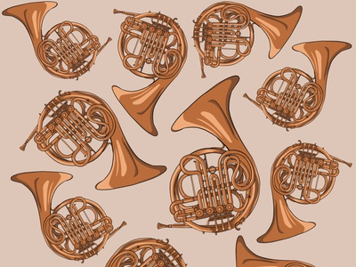 French Horn Pattern orchestra instrument music musical instrument french horn horn