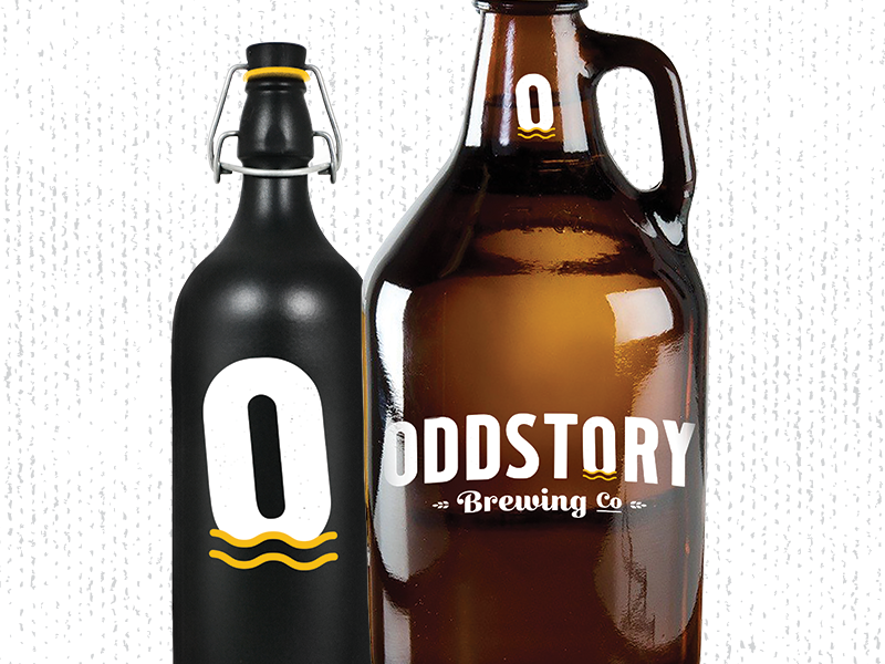 Oddstory Brewing Co. Bottle Mocks craft beer chattanooga branding beer identity growler