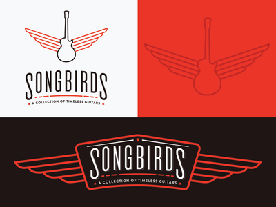 Songbirds tennessee chattanooga car grill vintage guitars guitar wings white black red identity logo branding