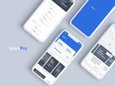 Islam Pro - Mobile App flat design minimal host event card dashboard donation prayer religion islam ux ui mobile blue app