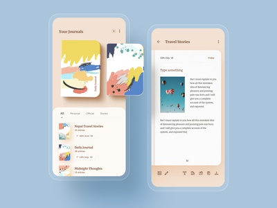 Nerdoo - Journal Keeping App book notebook design swipe journaling calander routine entry iphone app minimal dailyui uiux ui mobile notebook note writing diary journal