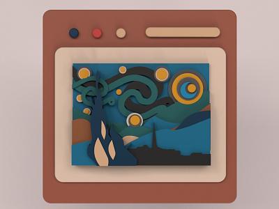 Sternennacht Gemälde von Vincent van Gogh Murad Studio illustration design 3d design modern culture art