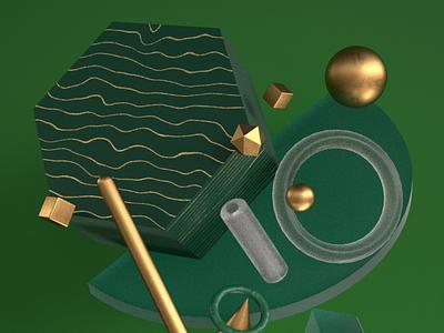 Green world abstract Murad Studio minimal digital art art illustration 3d modeling 3d design design