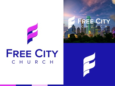 Free City Church branding design blue logo vector