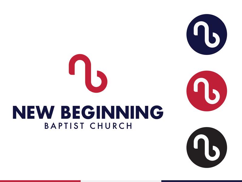 New Beginning Church blue red design branding icon illustration vector logo