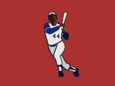 Hammering Hank Aaron hank aaron baseball braves blue red design illustration vector