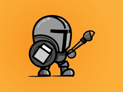 Character Exploration knight logo mandalorian knight icon yellow orange illustration vector