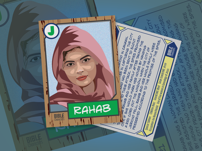 Bible Trading Card | Rahab bible character bible collectible cards trading card design illustration vector