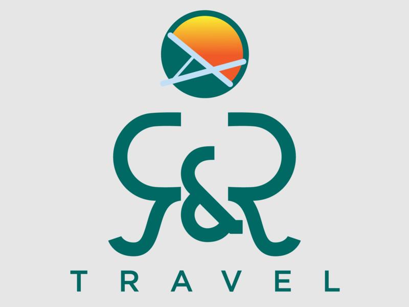 R & R Logo design branding yellow vector illustrator logotype r gradient green logodesign travel logo