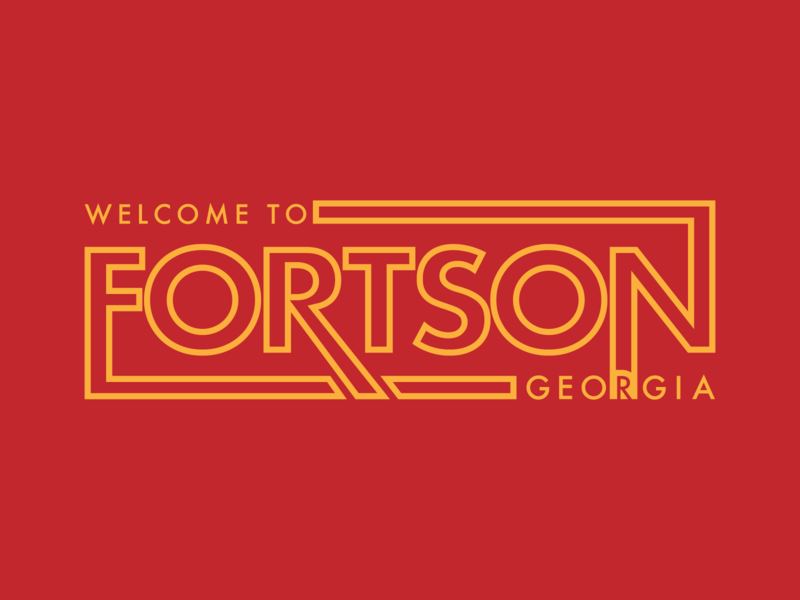 Welcome to Fortson design illustration vector letters city yellow red welcome wordmark letter