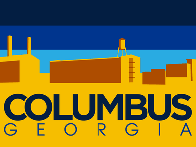 Columbus, Georgia Patch skyline city cityscape patch design illustration blue orange logo vector georgia columbus