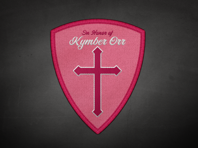 In Honor pin cross shield patch cancer pink design illustration vector
