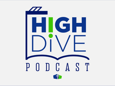 High Dive Podcast Logo podcast typography green blue illustration vector logo design logo