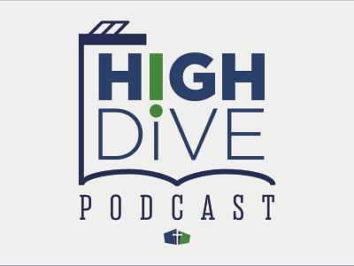 High Dive Podcast Logo podcast typography green blue illustration vector logo design logo
