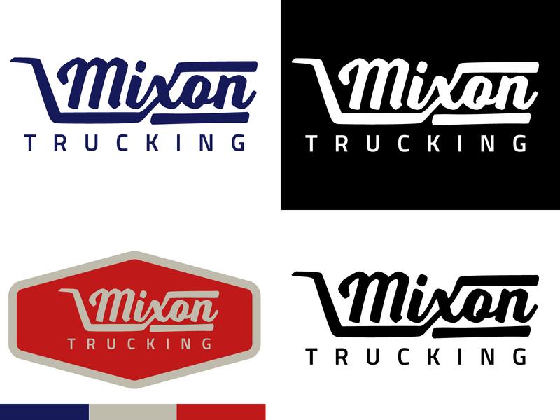 Mixon Trucking Logo trucking icon badge red design blue illustration vector branding logo