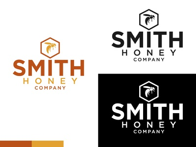 Smith Honey Company honeybee honey branding yellow orange logo vector